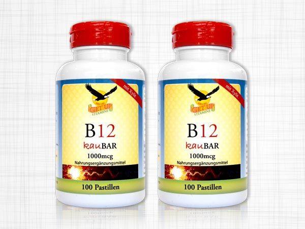 Zwei Dosen B12 Vitamine kaubar. Jeweils 100 Pastillen und 1000 Mikrogramm.