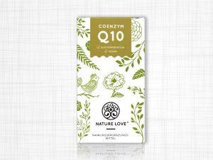 Nahrungsergänzungsmittel Coenzym Q 10, 200 Milligramm, in einer grün-weißen Papierverpackung.