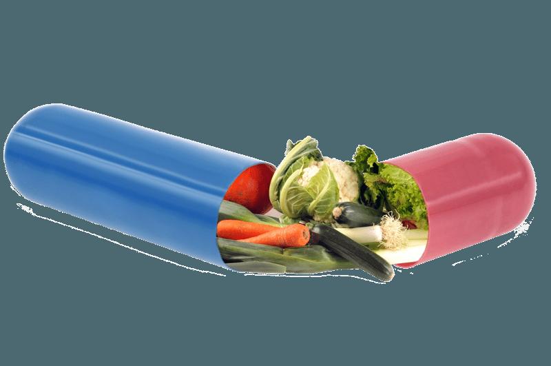Blau-rote Kapsel, die mit Gemüse gefüllt ist.