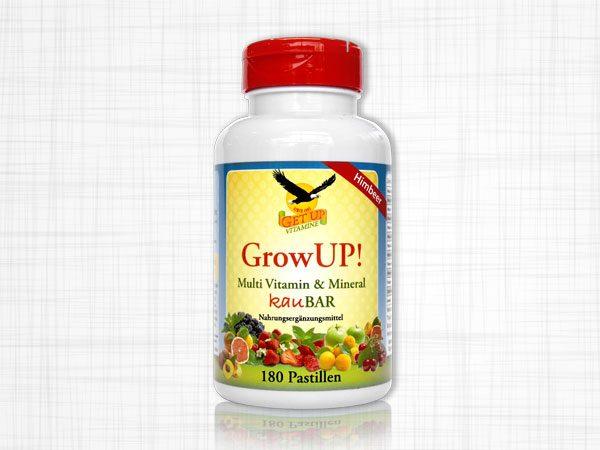 Eine Dose mit 180 kaubaren Multi Vitamin und Mineral Pastillen für Kinder.
