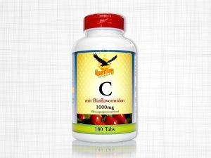 180 Vitamin C Kapseln, 1000 Milligramm, verpackt in einer weißen Dose.